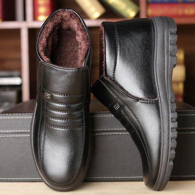 冬季男士保暖棉皮鞋中老年人高帮爸爸棉鞋加绒加厚防滑男士皮棉鞋