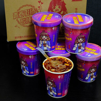 懂大师酸辣粉桶装红薯粉粗粉条180g*6桶红姑娘方便面粉丝零食整箱