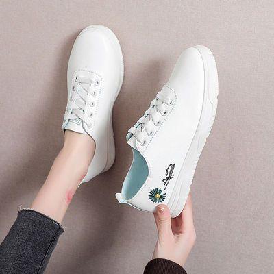 小白鞋女百搭韩版女鞋2021春季新款鞋子女平底系带学生鞋板鞋ins