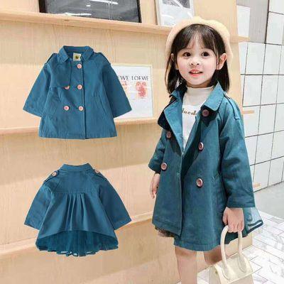 童装女童外套春秋款中小童纯棉儿童韩版洋气风衣中长款宝宝衣服潮