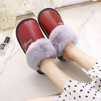 冬季皮拖鞋居家拖鞋男冬家用加绒保暖皮面防水棉拖鞋男女居家鞋
