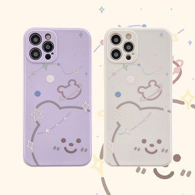 简约线条小熊苹果12ProMax手机壳iPhone11软壳7P/8plus直边XS/XR