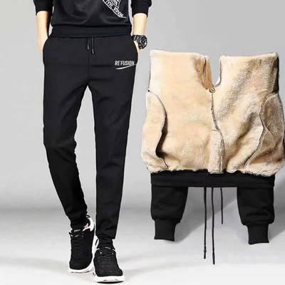 秋冬季羊羔绒加绒款休闲裤哈伦裤长裤子束脚裤宽松大码男装运动裤