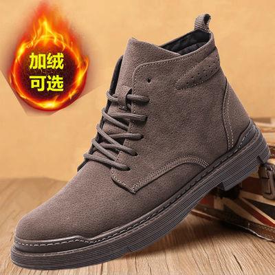 马丁靴男秋冬季新款中帮工装靴潮流休闲百搭高帮加绒棉鞋潮雪地靴