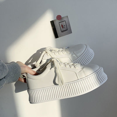 小白鞋女2021春秋季新款百搭平底系带休闲板鞋松糕厚底增高鞋子女
