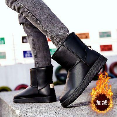 防水男鞋皮面雪地靴冬季学生百搭韩版加绒加厚保暖男士棉鞋男短靴