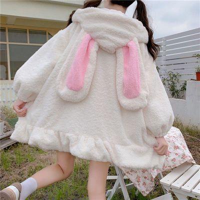 39682/冬日系软妹可爱毛球兔耳朵连帽荷叶边防羊羔毛加厚棉衣外套学生女