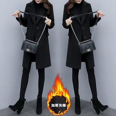 赫本风毛呢外套女2020秋冬季新款韩版夹棉中长款呢子大衣加厚风衣
