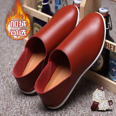 豆豆鞋男士休闲鞋韩版小白鞋加绒皮鞋一脚蹬防滑鞋子男工作轻便鞋