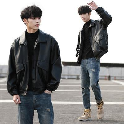 韩版潮流宽松皮衣男大码短款春秋机车服学生青年飞行员皮夹克外套