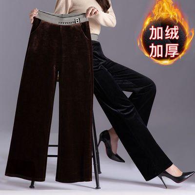 灯芯绒阔腿裤子女秋冬2020年新款垂感高腰条绒加绒加厚雪尼尔女裤