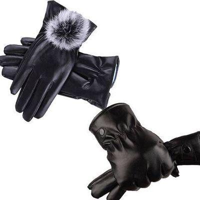 新款加绒加厚保暖手套男女可触屏学生户外开摩托车防风防水PU手套