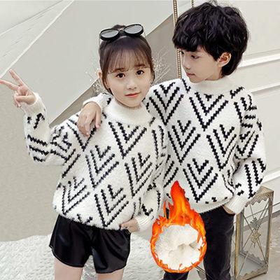 2020秋冬新款男童女童可爱猫头加绒加厚毛衣