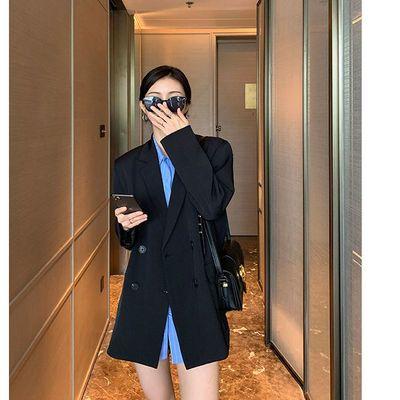 36656/黑色西装外套女2021春秋新款韩版宽松休闲显瘦设计感小西服