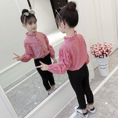 童装女童娃娃领长袖衬衣2021年春夏新款洋气女宝宝小格子儿童衬衫