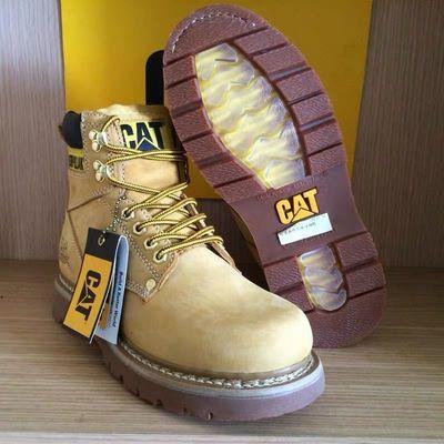 CAT卡特男鞋专柜正品头层水晶底户外工装鞋高帮厚底大头黄牛皮鞋