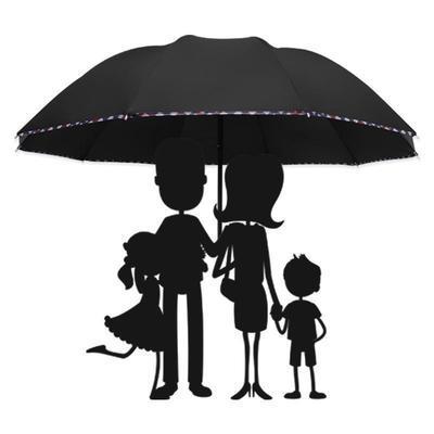 56854/十骨八骨加大雨伞双人三人大号折叠雨伞男女商务伞三折晴雨太阳伞