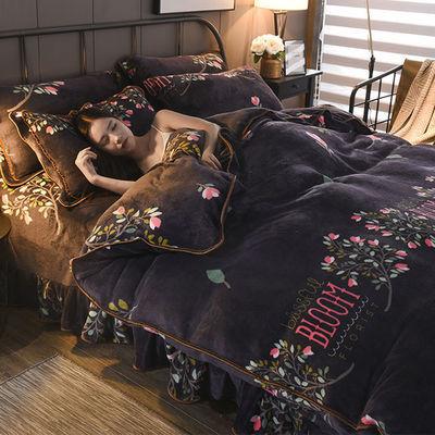 加厚金貂绒四件套床裙款冬季保暖珊瑚绒被套床上用品法兰绒三件套