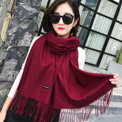 围巾女冬款纯色红色加厚加大网红围巾披肩两用保暖学生围脖男女