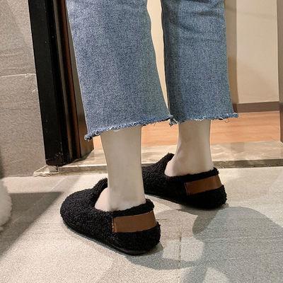 加绒豆豆鞋女毛毛鞋2020秋冬新款软底懒人学生一脚蹬羊羔毛平底鞋