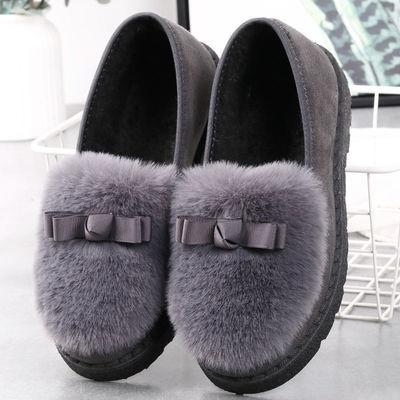 秋冬季加绒保暖鞋毛毛鞋豆豆鞋女棉托鞋包跟防滑月子鞋平底鞋子