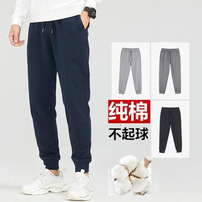 新款男士纯棉运动裤春夏薄款休闲裤冬季加绒宽松时尚直筒裤男长裤