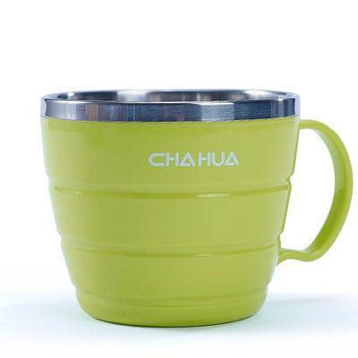 茶花钢碗内层不锈钢外层塑料大号带把手碗泡面碗加厚