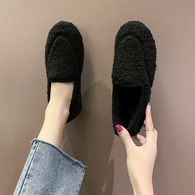 毛毛鞋女秋冬2020社会网红豆豆鞋女加绒平底鞋女鞋外穿百搭棉鞋潮