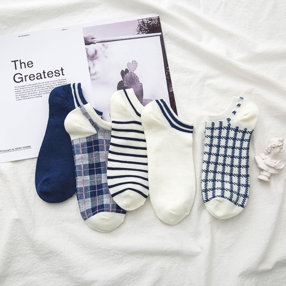 五双日系条纹格子短袜学院风男女棉短袜百搭原宿英伦风潮流袜子