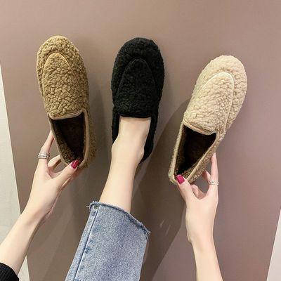 新款豆豆鞋女冬季加绒防滑平底家居棉鞋女学生韩版百搭保暖毛毛鞋