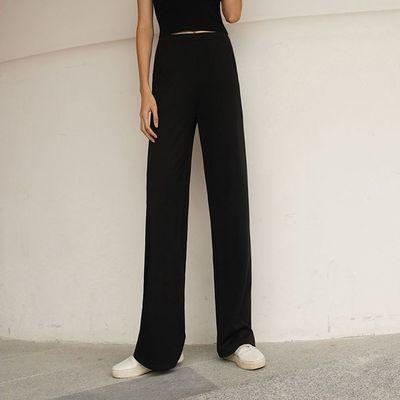 2021款大码高弹力高腰垂感显瘦阔腿裤微喇叭显腿长直筒休闲女裤