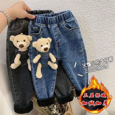 女童加绒牛仔裤冬季洋气新品小熊玩偶三层加厚儿童牛仔棉裤