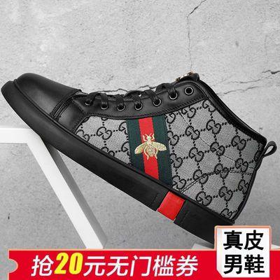 新款高帮靴子男鞋潮流运动鞋子男头层牛皮真皮休闲鞋复古板鞋加绒