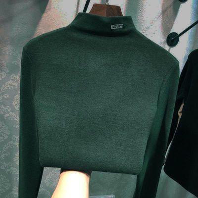 加绒加厚阳离子自发热打底衫女2020新款秋冬季韩版半高领长袖上衣