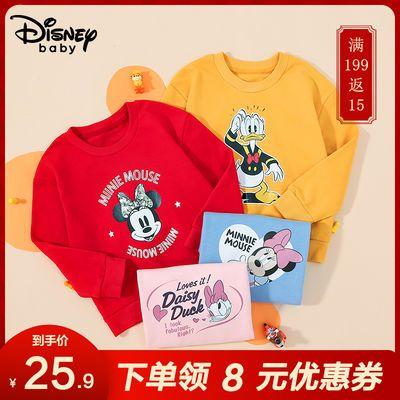 迪士尼童装2020秋冬新品加绒加厚男童中小童卡通印花针织圆领卫衣