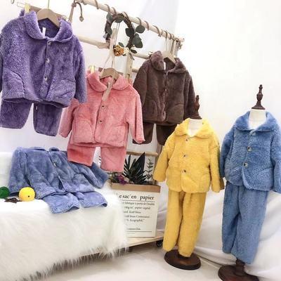 儿童保暖长毛法兰绒睡衣秋冬季男女童宝宝加厚家居服套装小中大童