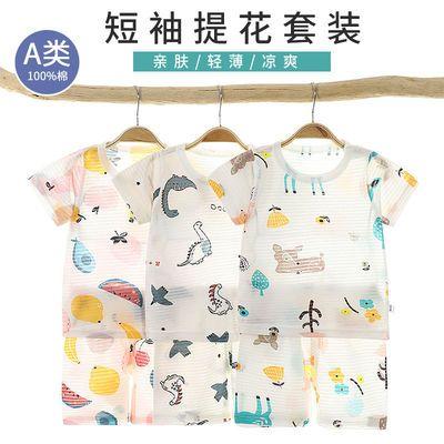 新款儿童短袖%100纯棉冰丝棉儿童短袖套装宝宝家居服中小童短袖