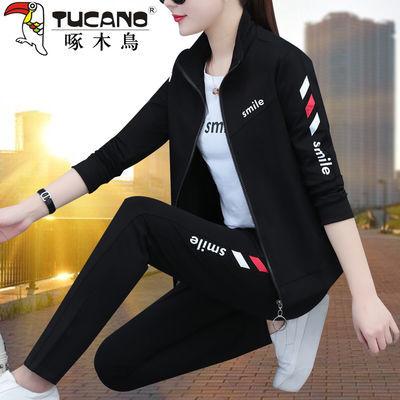 59704/啄木鸟运动套装女春秋季2021新款春装时尚显瘦休闲运动服女三件套