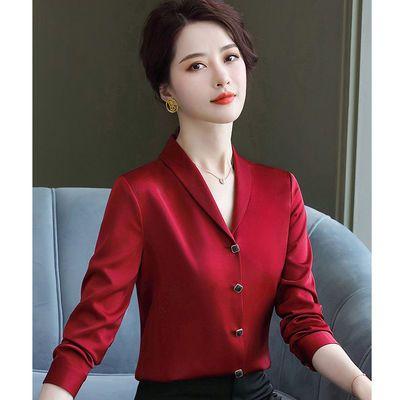 19500/春夏新款时尚气质雪纺衬衫长袖短袖女士醋酸缎面真丝衬衣宽松上衣