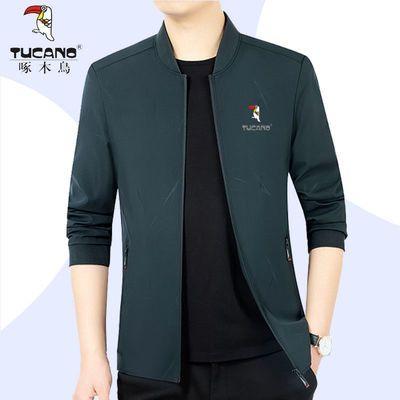 啄木鸟春季新款男士中年夹克短款立领大码休闲外套帅气潮流夹克衫