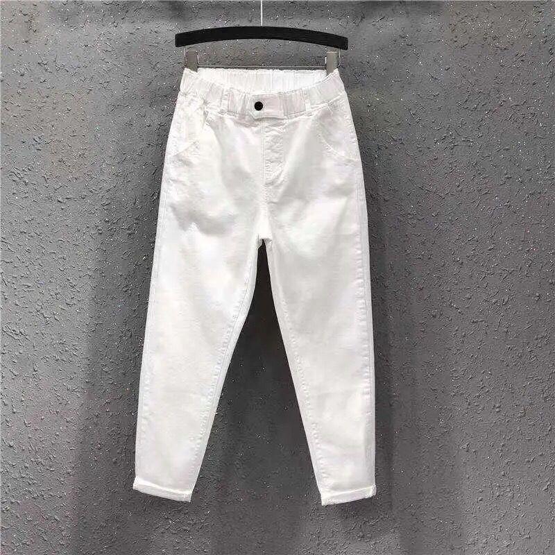 春夏大码白色裤子女宽松直筒新款显瘦哈伦裤高腰九分牛仔裤萝卜裤