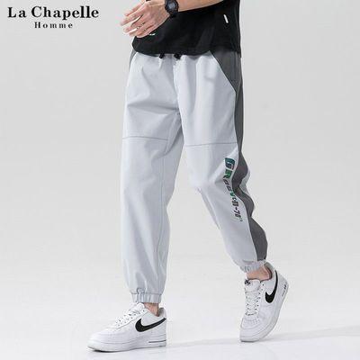 拉夏贝尔HOMME休闲裤男条纹夏季新款哈伦束脚工装裤运动韩版长裤