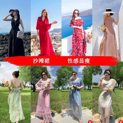 35518/沙滩裙长裙超仙海边度假海南三亚旅游拍照显瘦波西米亚雪纺连衣裙