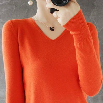 72289/宽松显瘦【200斤可穿】春秋新款V领针织打底衫毛衣女长袖上衣女