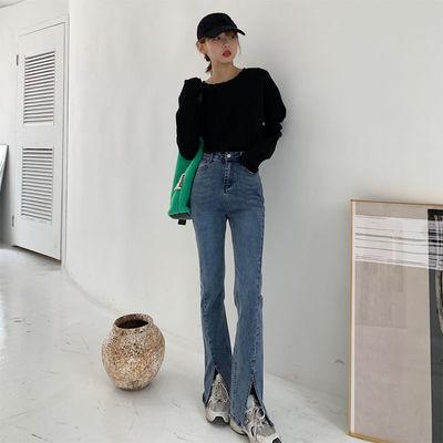 开叉牛仔裤微喇叭女2021年春季高腰个性显瘦直筒复古分叉拖地长裤