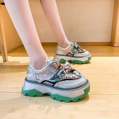 欧洲站2021秋季新款女鞋欧美时尚蕾丝休闲单鞋厚底松糕增高老爹鞋