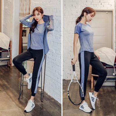 52973/瑜伽服女健身服夏季健身衣服宽松大码健身房跑步运动套装女晨跑服