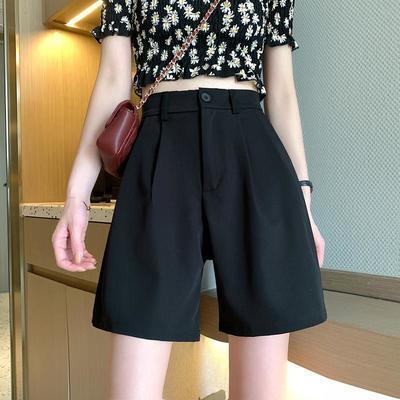 39015/西装短裤女2021夏季新款薄高腰显瘦百搭宽松直筒休闲阔腿垂感裤子