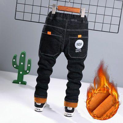 男童加绒加厚裤子2021冬季新款棉裤儿童牛仔裤中小童冬款男孩长裤