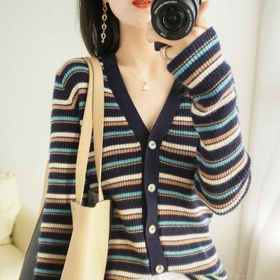 78729/新款条纹拼色羊毛开衫女V领修身针织上衣毛衣外套薄打底衫潮